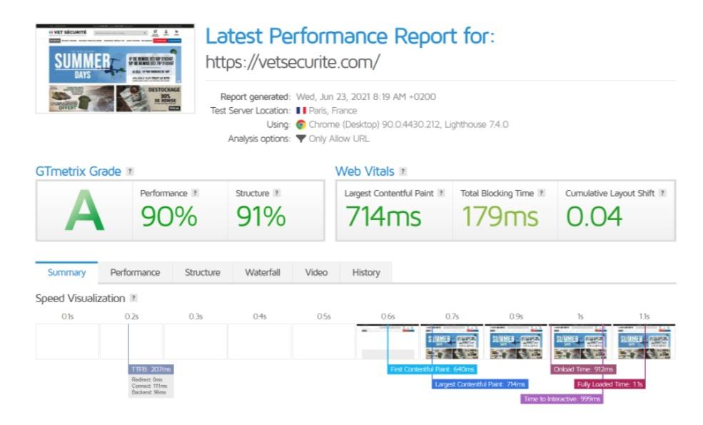 GtMetrix Axome Web performances