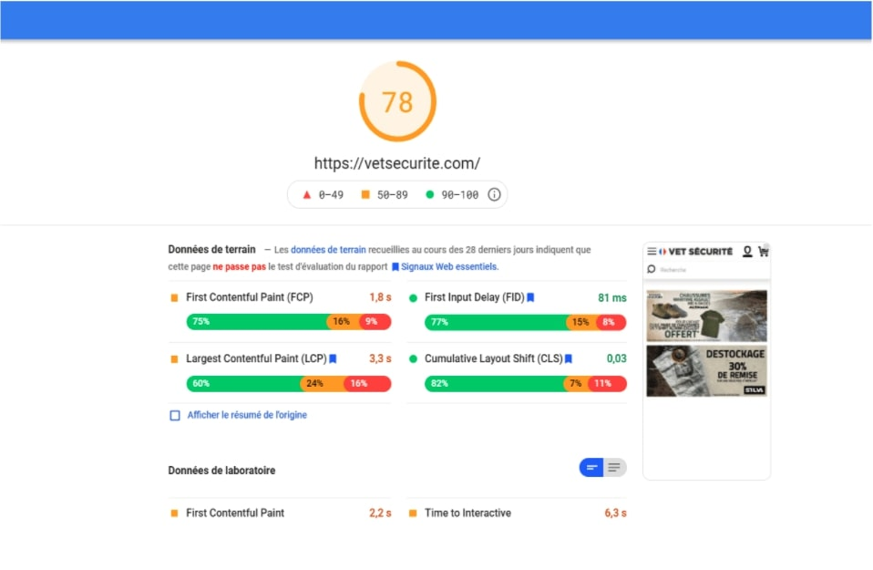 Pagespeed Insight Axome